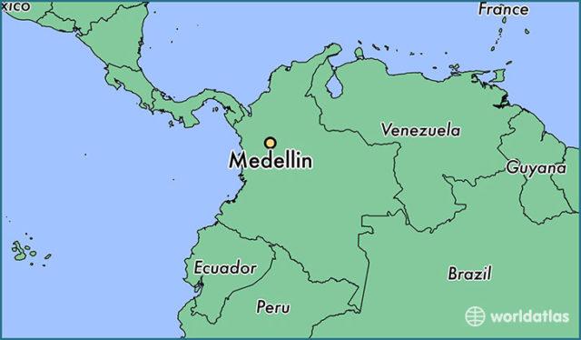 Qariidada mmagaalada Medellin ee dalka Columbia. [Sawirka: World Atlas]