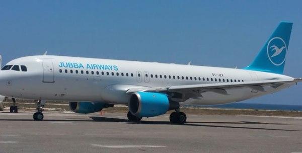 Diyaarada Jubba Airways oo fadhida garoonka caalamiga ah ee Boosaaso, Puntland. [Xuquuqda Sawirka: Puntland Post]