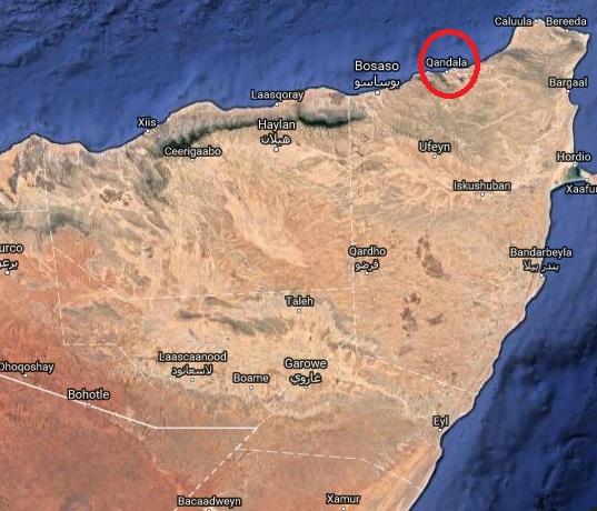 Qandala waxay qiyaastii 75km dhanka bariga ka xigtaa magaalada Boosaaso [Sawirka: Google Map]