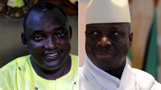 Adama Barrow (midig) Yahye Jammeh (bidix).