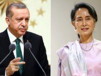 Madaxweynaha dalka Turkiga Recep Tayyip Erdogan iyo hoggaamiyaha dalka Myanmar Aung San Suu. [Xigashada Sawirka: Anadolu]