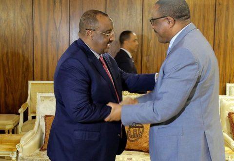 Raysulwasaaraha Itoobiya Hailemariam Dessalegn iyo Madaxweynaha Puntland Cabdiweli Maxamed Cali. [Sawirka: ENA]